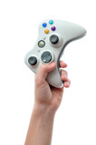 Hand holding video game controller poster