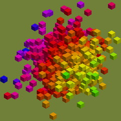 Colorful data blocks concept