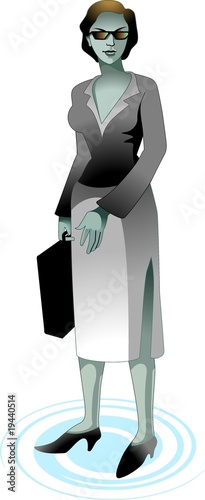 Illustration of business women hands with briefcase