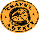 Retro travel agency stamp poster