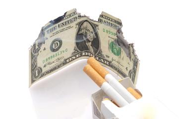 dollaro che brucia e sigarette