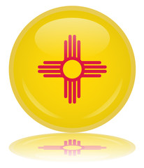 New Mexico State Round Flag Button (USA New Mexican Vector Web)