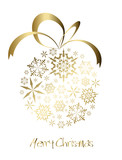 Fototapety Christmas ball made from golden snowflakes
