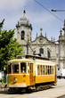 tram in front of Carmo Church, Porto, Portugal