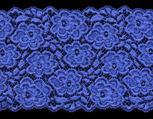 Blue floral lace on black background, large image, 18 MB