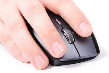 Male hand on mouse