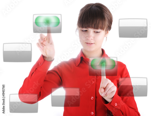 Girl with digital buttons