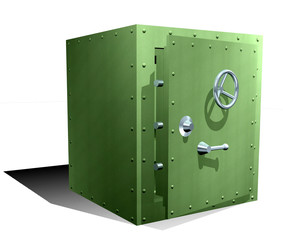 Bank safe door open