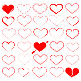a lot of red hearts - vector set