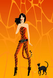 girl in a suit tigress with a lady-cat on a leash poster