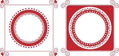 Red rounded frames for Valentine's day