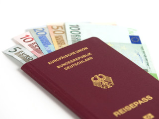 German passport with euro money