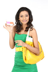 business Woman holding pink credit card