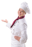 portrait of a female chef isolated over white poster