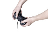 Male hand hold video game controller poster