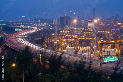 highway and container terminals in Hong Kong at night