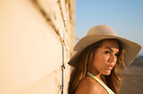 Beautiful MultiRacial model with hat poster