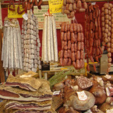 made in Italy, delicious italian sausages on tuscan market poster