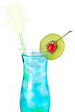 Blue tropical alcohol cocktail