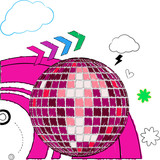 Sketched disco ball on a doodle background poster