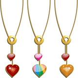 Set of 3 valentine heart pendants poster