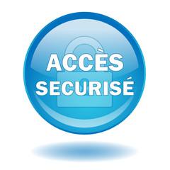 """Bouton web rond """"ACCES SECURISE"""" (vecteur - securité)"""