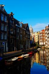 Saint Nicholas Church and Canal in Amsterdam