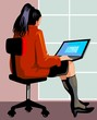 Illustration of business women work in laptop