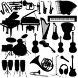 Fototapety Lot of vector music instruments