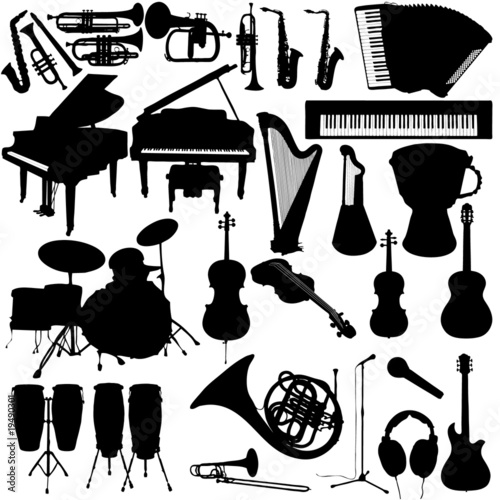 Lot of vector music instruments