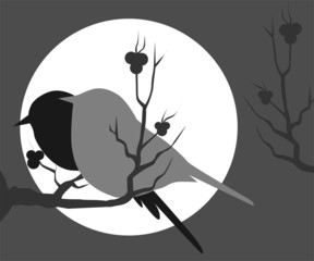 Illustration of two birds sitting on a branch of tree