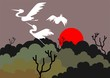Illustration of a crane flying above trees