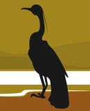 Illustration of silhouette of  bird sitting alone