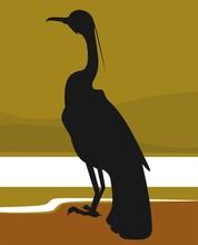 Illustration of silhouette of  bird sitting alone