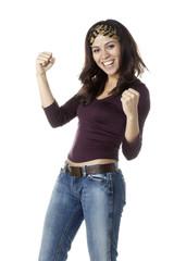 jeune femme victorieuse heureuse