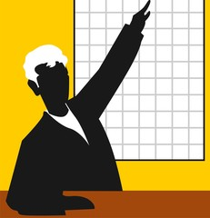 Illustration of silhouette of man standing near chart