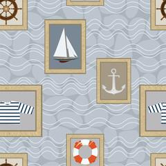 Marine wallpaper pattern. Vector