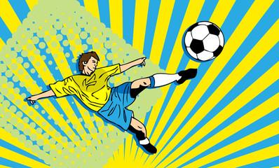 Football fake card, soccer player banner, sport background, man