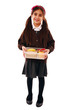 Schoolgirl holding healthy lunch box isolated over white