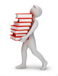 3d people - bearing books