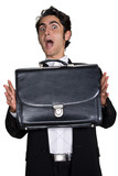 Businessman with black leathern case.