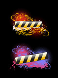 Two Vibrant Glow Color Banners On Black Background. poster
