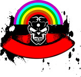 Vibrant Color Rainbow Skull Banner. Vector Illustration. poster