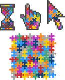 Vibrant Color Puzzle Computer Cursors. Vector Illustration. poster