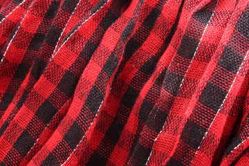 Closeup of red tartan fabric