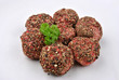 peppered minced meat balls on a plate