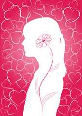 Romantic background with girls silhouette and hearts