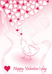 Romantic background with bird