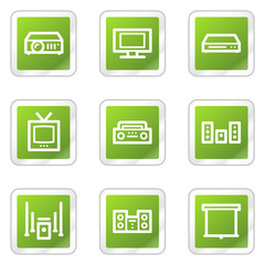 Audio video web icons, green square sticker series