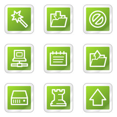 Data web icons, green square sticker series